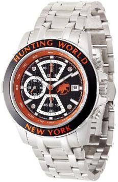 [ハンティングワールド]Huntingworld 腕時計 ヴェルサーリオ ブラック×オレンジ オレンジ革 替えベルト付き クォーツ メンズ HW401SOR メンズ 【正規輸入品】