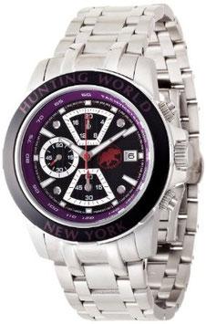 [ハンティングワールド]Huntingworld 腕時計 ヴェルサーリオ ブラック×パープル 紫革 替えベルト付き クォーツ メンズ HW401SPU メンズ 【正規輸入品】