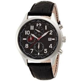 [ハンティングワールド]Hunting world 腕時計 タイムハンター 黒革 替えベルト付き ワールドタイマー クォーツ メンズ HW404BK メンズ 【正規輸入品】
