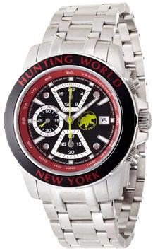 [ハンティングワールド]Huntingworld 腕時計 ヴェルサーリオ ブラック×レッド 赤革 替えベルト付き クォーツ メンズ HW401SRD メンズ 【正規輸入品】