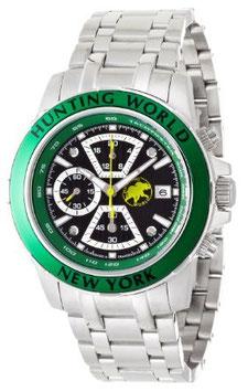 [ハンティングワールド]Huntingworld 腕時計 ヴェルサーリオ ブラック×グリーン 緑革 替えベルト付き クォーツ メンズ HW401SGR メンズ 【正規輸入品】