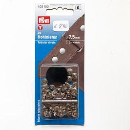 HOHLNIETEN, 20 Stk., Durchmesser: 7,5 mm, Dicke: 3-4 mm