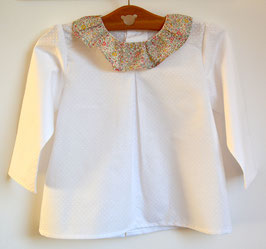 kit blouse 2 ans blanche collerette liberty Katie and Millie