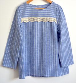 blouse rayures taille S dentelle à l'empiècement