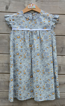 Robe 4 ans betsy gris et moutarde pompons blancs