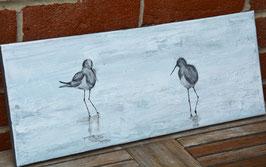 Tableau allongé oiseaux inspiration baie de Somme