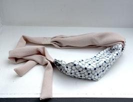 Head band coton géométrique bleu et gris