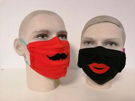 Fremdschutz bestickt- Faltenmaske für Damen und Herren