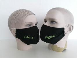 Fremdschutz - Rundmaske - I bin a Veganer (einzeilig auf beiden Seiten)