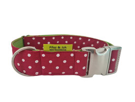 Halsband 4 cm (1087) ruby Punkte