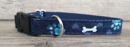 kleines Halsband dunkelblau Pfoten & Knochen (674)