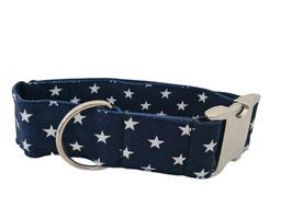 Halsband 4 cm (1225) Sterne dunkelblau