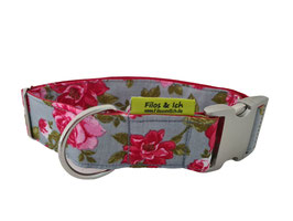 Halsband 4 cm (1219) grey and roses