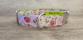 Halsband 2,5 cm (1071) rosa-geblümt