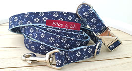 Halsband & Leine Set (1019) blau weiß Blümchen