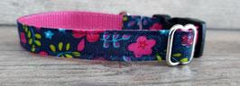 kleines Halsband türkis-pink geblümt (672)