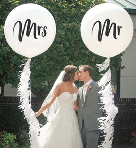 "2 Ballons Hélium Qualatex ""Mr ou Mrs"""