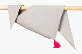Tuch Dreieck Musselin grau Bommel pink