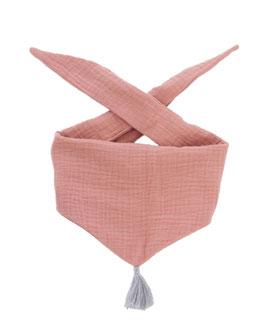 Tuch Dreieck Musselin rose Bommel grau
