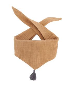 Tuch Dreieck Musselin mustard Bommel grau