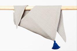 Tuch Dreieck Musselin grau Bommel blau