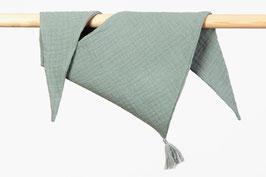 Tuch Dreieck Musselin mint Bommel grau