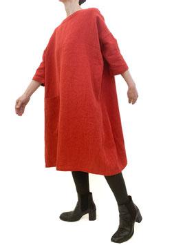 ワンピース リネンラミー 紅緋色