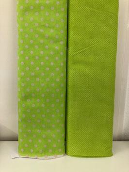 Baumwollstoff Grün mit Punkten
