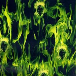 Vlammen en schedels groen
