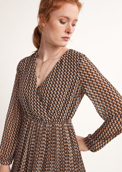 Crêpe-Kleid mit Allovermuster #todayfortomorrow #new