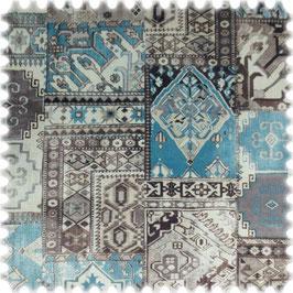 Samt-Velours, Patchwork Orient, blau
