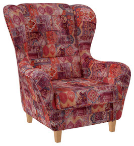 Samt-Velours Patchwork Orient Rot