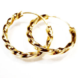 Twister, gold plated zilveren oorringen