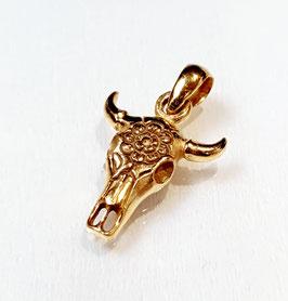 Zilveren hangertje Cow Skull gold plated