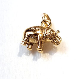 Holy olifant zilveren hanger gold plated