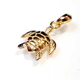 Turtle, gold plated zilveren hangertje.