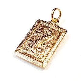 The Dragon, gold plated zilveren hangertje met Chinese draak.
