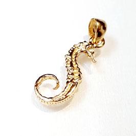 Zeepaard, gold plated zilveren hangertje zeepaard.