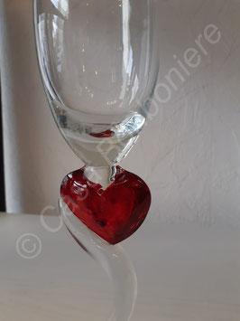 Sekt Glas mit Herz