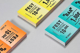 20 carnets de 10 tickets Billeterie Impression quadri 21x8cm