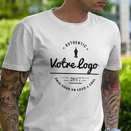 Lot de tee-shirts personnalisés Blanc 1 Logo A4 + 1 petit Logo Autre face même couleur