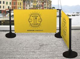 Barrière de terrasse 1,5m simple, visuel 2 faces ou double visuel 4 faces