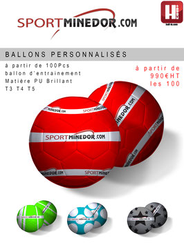 100 Ballons Personnalisées Foot / Hand PU Taille 3 4 ou 5