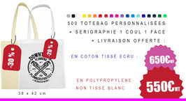 PROMO : 500 tote-bags Sérigraphiés 1 coul