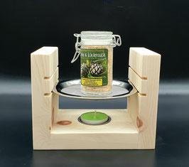 Räucherstövchen Räuchergefäß mit Sieb aus Zirben Holz im Set mit Räuchermischung