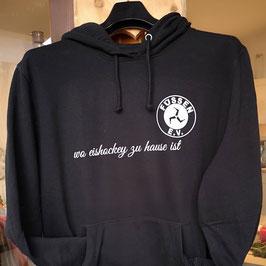 """Hoody 47 - schwarz - mit EVF-Logo  und  SCHRIFTZUG """"wo eishockey zu hause ist"""""""