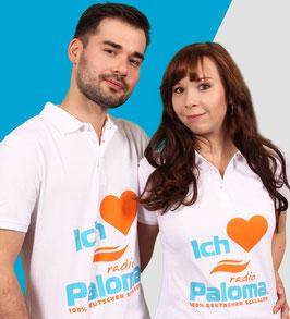 Poloshirt • Ich liebe Radio Paloma • Unisex Weiss