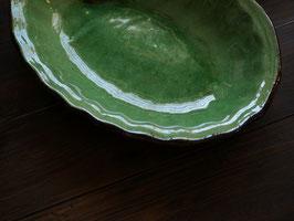 緑釉 デュルフィ オーバル深皿です。