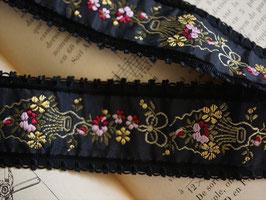 アンティーク刺繍リボン 黒