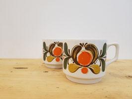 2 tasses fleurs oranges